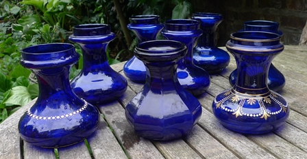 cobalt blue squat hyacinth vases