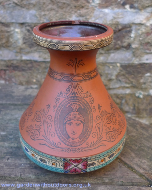Victorian terracotta hyacinth vase with classical figure transfers